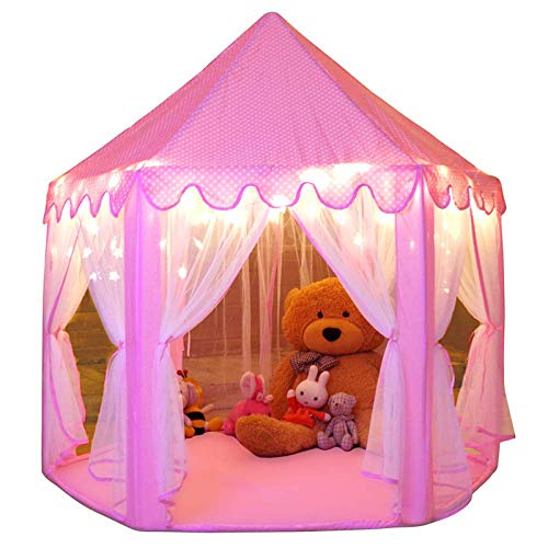 Monobeach Princess Tent Girls Large Playhouse Kids Castle Play Tent with Star Lights Toy for...