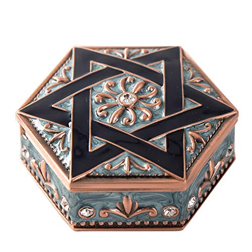 SYXX Caja de almacenaje Princesa Retro de Seis Puntas Estrella de Metal Almacenamiento Creativo Joyería Joyería Maquillaje Joyería Joyería Caja de Regalo (Color : UN)