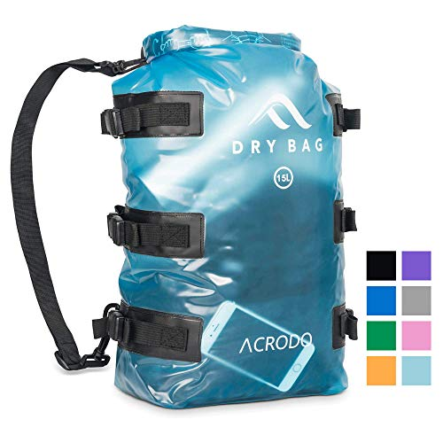 Acrodo Waterproof Backpack Dry Bag – 15 Liter Floating Rolltop Dry Backpack for Kayaking, Water Resistant Pouch for Beach, Boating, Camping, Swimming & Fishing, Perfect Outdoors Gift