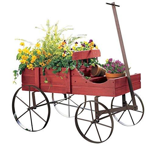 10 | Amish Wagon Decorative Indoor/Outdoor Garden Backyard Planter, Red