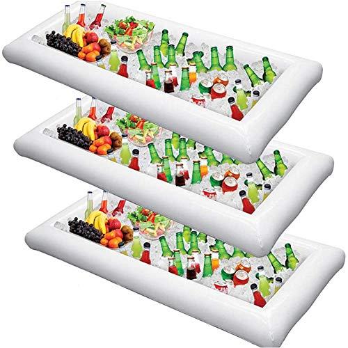 ZXYWW Aufblasbare Billardtisch-Servierbar, Schwimmende Bier-Tischtennis-Party-Pool-Lounge-Floß, Großer Buffet-Tablett-Server Mit Ablassschraube (3 Stück)