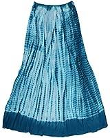 Ayurvastram Viscose Rayon Crinkled Tie n Dye Long Skirt: Teal, XS