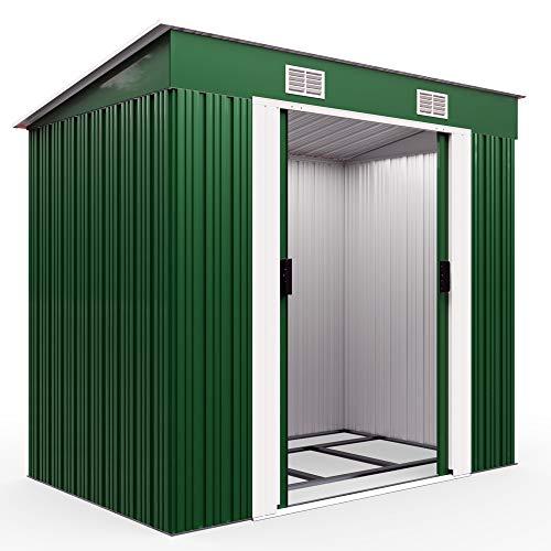 Deuba L Metall Gerätehaus 2m² mit Fundament 196x122x180cm Schiebetür Grün Geräteschuppen Gartenhaus 3,4m³