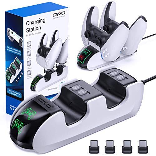 OIVO PS5 Controller Ladestation, PS5 Ladegerät Docking Station mit 4 Type-C Ladeanschlüssen für Sony Playstation 5, PS5 Ladestation für Sony Playstation 5 Wireless Controller