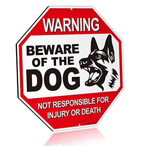 ANLEY Beware of The Dog Aluminum Warning Sign, No Responsible for Injury Or Death Warning Dog Sign - UV Protected and Weatherproof - 12' x 12'
