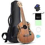 Hricane Ukelele de concierto Koa Hawaii Guitarra de 23 pulgadas, para principiantes, con funda, afinador de cuerda, para hombres y mujeres