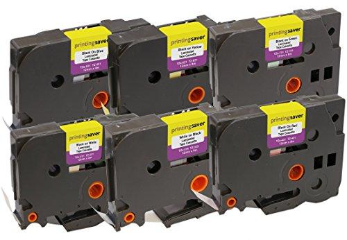 6-Pack Compatibile TZe-231 TZe-335 TZe-431 TZe-531 TZe-631 TZe-731 12 mm x 8 m Nastri laminati per Stampanti per Etichette Brother P-Touch