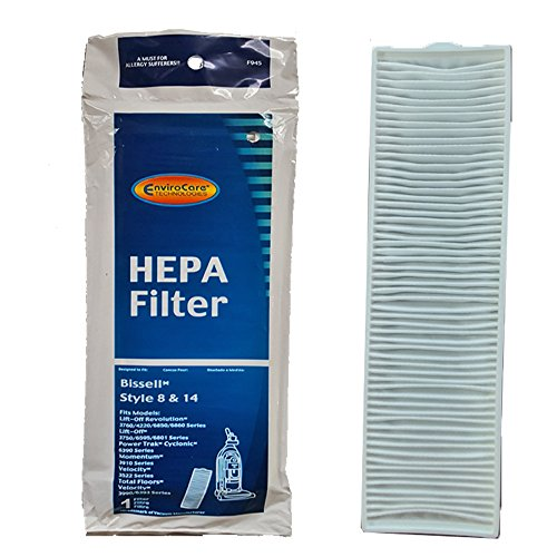 (1) Bissell Bagless Upright Vacuum Cleaner Style 8 / 14 Hepa Pleated Micro Post Motor Exhaust Filter 2036608 3091 Lift-off Multi Cyclonic Pet, Total Floor, Velocity, Pet Hair Eraser, Momentum by EnviroCare