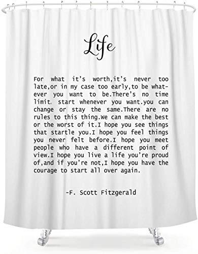 LIGHTINHOME Life Quote F. Scott Fitzgerald Duschvorhang, 152 x 183 cm, motivierender Satz, inspirierend, schwarz-weiß, Kunst, wasserdicht, Badezimmer, Heimdekoration, 12 Kunststoffhaken