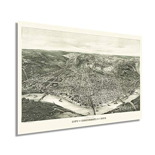 HISTORIX Vintage 1900 Cincinnati Ohio Map - 24x36 Inch Vintage Map of Cincinnati Wall Art - Old Cincinnati Poster - Historic Cincinnati Map Wall Art - Panoramic View of Cincinnati OH Map (2 Sizes)