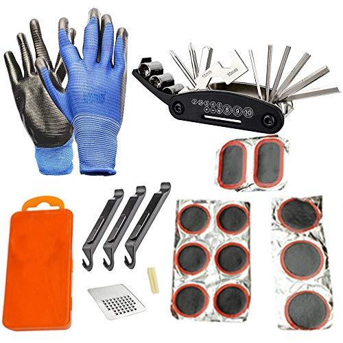 HUOHUOHUO 16-Outil Réparation Vélo Multifonctionnel,Kit Anti Crevaison VTT,Trousse D'outils de Vélo,Outil Multifonction Velo Route,Outils Velo Pro,Kit D'outils pour Vélo