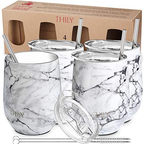 Thily T1 Edelstahl-Weinglas, mit Deckel, vakuumisoliert, für Kaffee, Wein, Cocktails, Eiscreme, schweißfrei, unzerbrechlich, BPA-frei, 2 Sets