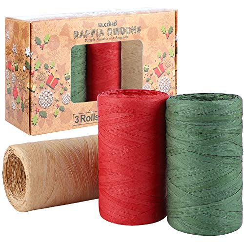 Elcoho 327 Yards Raffia Ribbons 3 Rolls Matte Raffia Paper Christmas Wrapping String Gift Packing Ribbon Raffia Twine for Christmas Gifts, Craft DIY, Red, Green, Kraft (Color A, 300m)