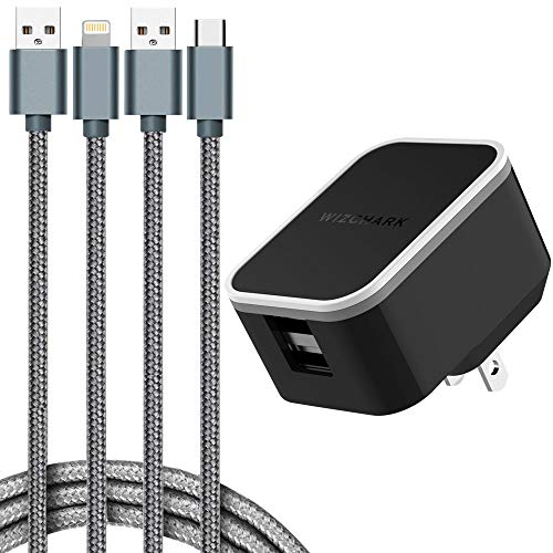 WIZCHARK USB Charger, Dual Port Wall Charger, UL Listed Charging Adapter, 2Amp with 2X Cables, Foldable Prongs for iPhone Xs/XS Max/XR/X/8/7/6/Plus, iPad, Samsung, Huawei, LG, Nexus and More (Black)