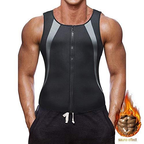 Bodyshaper Tops For Men Fashion Fitness Gym neopreen Sauna Tank Top Taille Trainer Body Shaper Afslanken Suit Zipper Vest ZHQHYQHHX (Color : 2, Size : M)