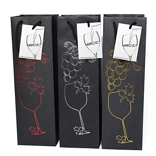Evergreen Goods Ltd 6 Bolsas Negras con Etiqueta de Regalo y Asas, diseño de UVA para Aniversario, cumpleaños, Ocasiones Especiales, Alto: 39 cm x 12 cm x 9 cm, Talla única