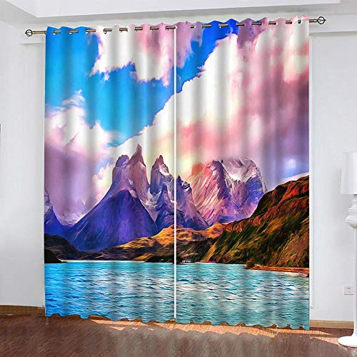CLYDX Eyelet Curtains 33'x54' For Bedroom, Lake View Mountain Peak Polyester Window Drape For Kitchen Cafe Curtains Shade Window Curtains, 2 Panels