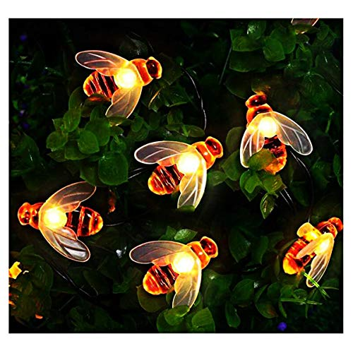 QULONG Luces solares de jardín, Luces de Cadena de Hadas de Abeja de Miel, 7 m / 23 pies, 8 Modos, Impermeable, iluminación de jardín Interior/Exterior para jardín, Fiesta de Verano, Patio