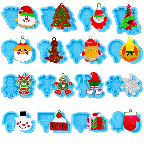 16 Pairs Christmas Resin Molds Silicone, Juome Earring Epoxy Resin Molds with 100 pcs Earring Hook & Open Jump Ring, Resin Jewelry Molds for DIY Christmas Craft