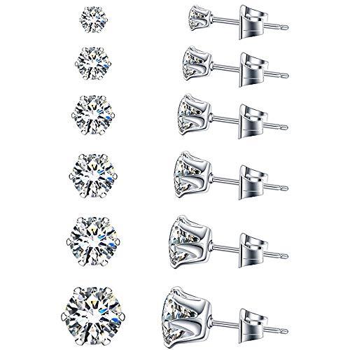 UHIBROS 6 pairs Stud Earrings Set, Hypoallergenic Cubic Zirconia 316L Earrings for Men Women Stainless Steel CZ Earrings, 3-8mm