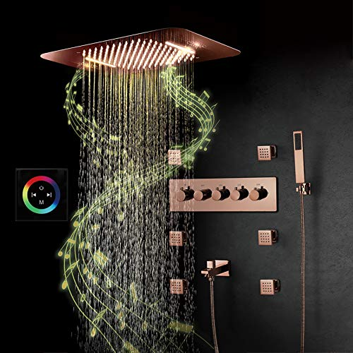ZWPY Multi-Function Smart Shower System, LED Music Shower Set, 6 Pack Massage Side Spray Hand Shower, Thermostatic Bathroom Waterfall Shower Set,Touch Control