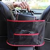 [Upgraded]Car Net Pocket Handbag Holder, Car Backseat Mesh Organizer, Barrier of Backseat Dog Kids, Driver Storage Netting Pouch (Red)