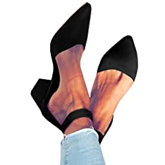ed5af4cb27d Womens Heeled Ankle Buckle Block Pointed Toe Cut out Pumps Sa .