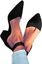 FISACE Womens Low Mid Square Heel Ankle Strap Sandal Office Ladies Pointed Toe Pumps Shoe
