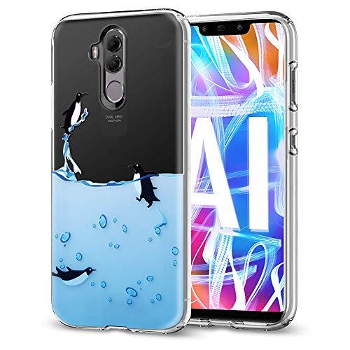 Cover Huawei Mate 20 Lite, Eouine Custodia Cover Silicone Trasparente con Disegni Ultra Slim TPU Morbido Antiurto 3D Cartoon Bumper Case Protettiva per Huawei Mate 20 Lite 2018 Smartphone (Pinguino)