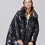 女性のダウンジャケット冬のロングコートラペルジャケットは日 ファッション光沢のある服として暖かいダウン450グラムホワイトダックエクシード Black M