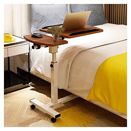 GYHUJI Days Overbed Table Mobile Laptop Stand Desk Adjustable Height 4 Casters (with Locking Device) (Color : Sandalwood)