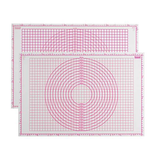 Kaiser Inspiration Fondant bakmat, 60 x 40 cm, siliconen, anti-aanbaklaag, uitrolmat met schaal/hulplijnen, aan beide zijden bruikbare deegmat, anti-slip effect