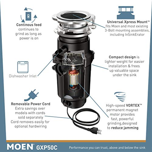 Moen GXP50C Prep Series PRO 1/2 HP Continuous Feed Garbage Disposal, Power Cord Included, 5.375x...