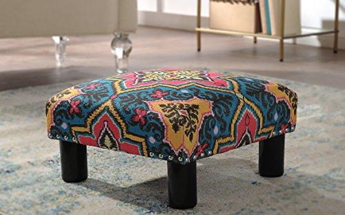 Jennifer Taylor Home Jules Collection Bohemian Nailhead Trim Accent Ottoman Bench, Multicolor/Tango Blue