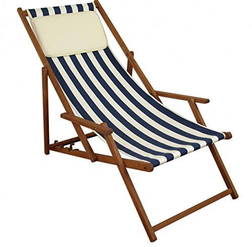 Erst-Holz Strandstuhl blau-weiß Gartenliege Sonnenliege Kissen Deckchair Buche dunkel klappbar 10-317 KH