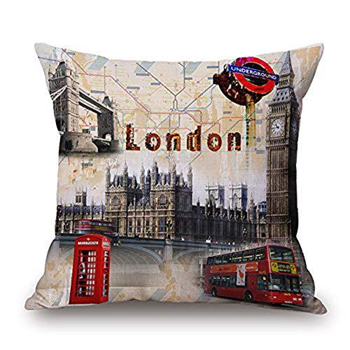 Happy Cool Baumwolle Leinen Quadratisch Flagge bedruckt dekorativer Überwurf-Kissenbezug, 45,7x 45,7cm, london, 18