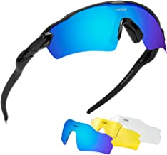 BATFOX Polarized Sports Sunglasses with Interchangeable Lenses, Comfortable Silicone Leg, tr90 Unbreakable Frame for Running Cycling Baseball Fishing Driving, UV Protection