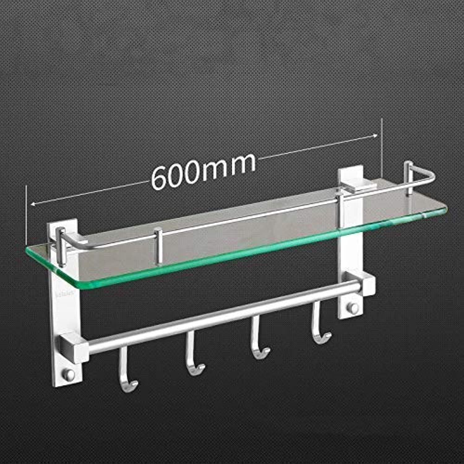 Wghz Space Aluminum Glass Shelf (color   Long 600mm)