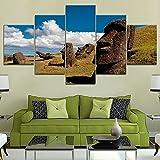 MPPSU Chile-Rapa-Nui-Isla-Pascua-Pintura 5 Paneles Impresión HD Cuadros Decoracion Dormitorios Salon...