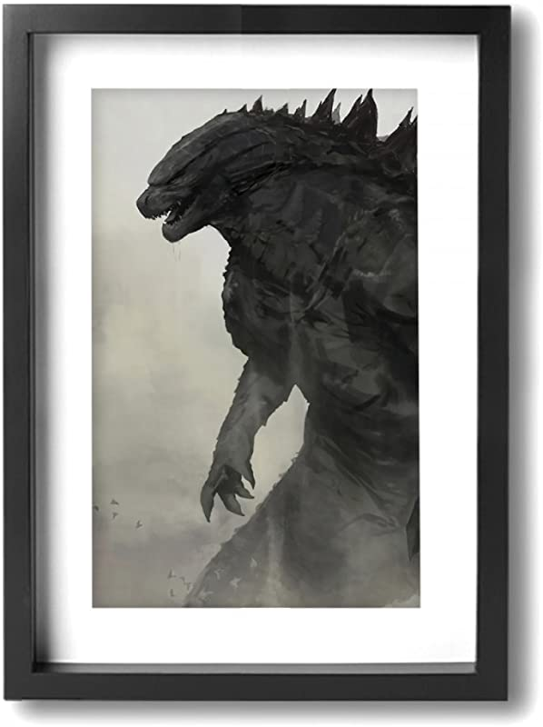 Little Monster Godzilla Working Framed And Stretched Oil Paintings On Canvas Wall Decor Modern Artwork Art For Kids Bedroom Living Room Black And White