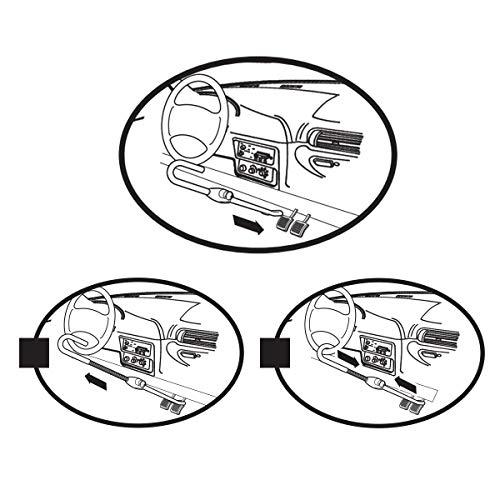Master Lock 256EURDAT Antifurto Regolabile Fino a 76.2 cm, Bloccasterzo Auto Universale, Dispositivo di Blocco per Volante/Pedale, Rosso