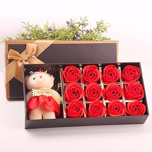 Menshow(メンズショウ) 母の日 花 熊のぬいぐるみ 石鹸の花 枯れない花 クマ付き 綺麗な花束 造花 ソープフラワー ローズフラワー 贈り物 誕生日 バレンタインデー 結婚 お祝い bear-quanhong