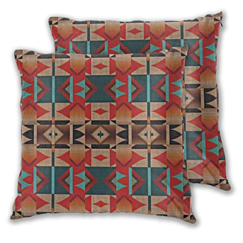 Pack of 2 Soft Decorative Square Throw Pillow Covers, Native American Indian Tribal Mosaic Rustic Cabin Pattern Cushion Cases Pillowcases for Sofa Bedroom Car,20 x 20 Inch