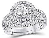 1.00 Carat (Color I-J, I2) Princess Cut Diamond Engagement Halo Ring Bridal Wedding Set in 14K White Gold