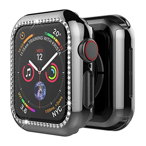 Funda Aplicar a Apple Watch Band Apple Watch 5 4 3 44mm 40mm Iwatch Band Band 42mm 38mm Bling Diamond Protector Cubierta del Protector Parachoques (Band Color : Black, Band Width : 44mm Series 4 5)