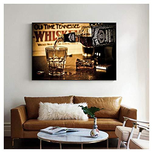 CJcheng Canvas Art Modern Whiskey Drinks Wall Posters en Prints Paintings Print On Canvas Bar Decoratieve Pictures voor Home Decoratieve Pictures 60x80 cm zonder lijst