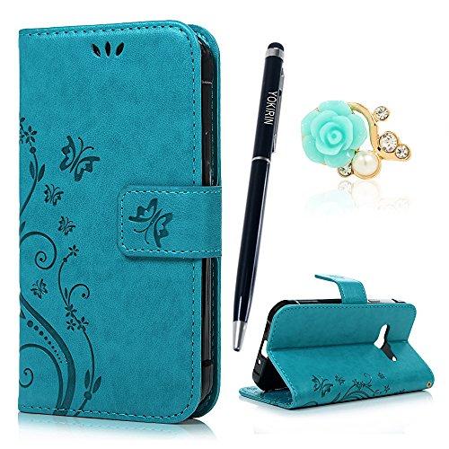 YOKIRIN Xcover 3 / G388 Wallet Case Schutzhülle für Samsung Galaxy Xcover 3 / G388 (4,5 Zoll) Schmetterling Hülle Zubehör Etui PU Leder Handytasche Bookstyle Stand Kartenfächer Magnet Case Blau