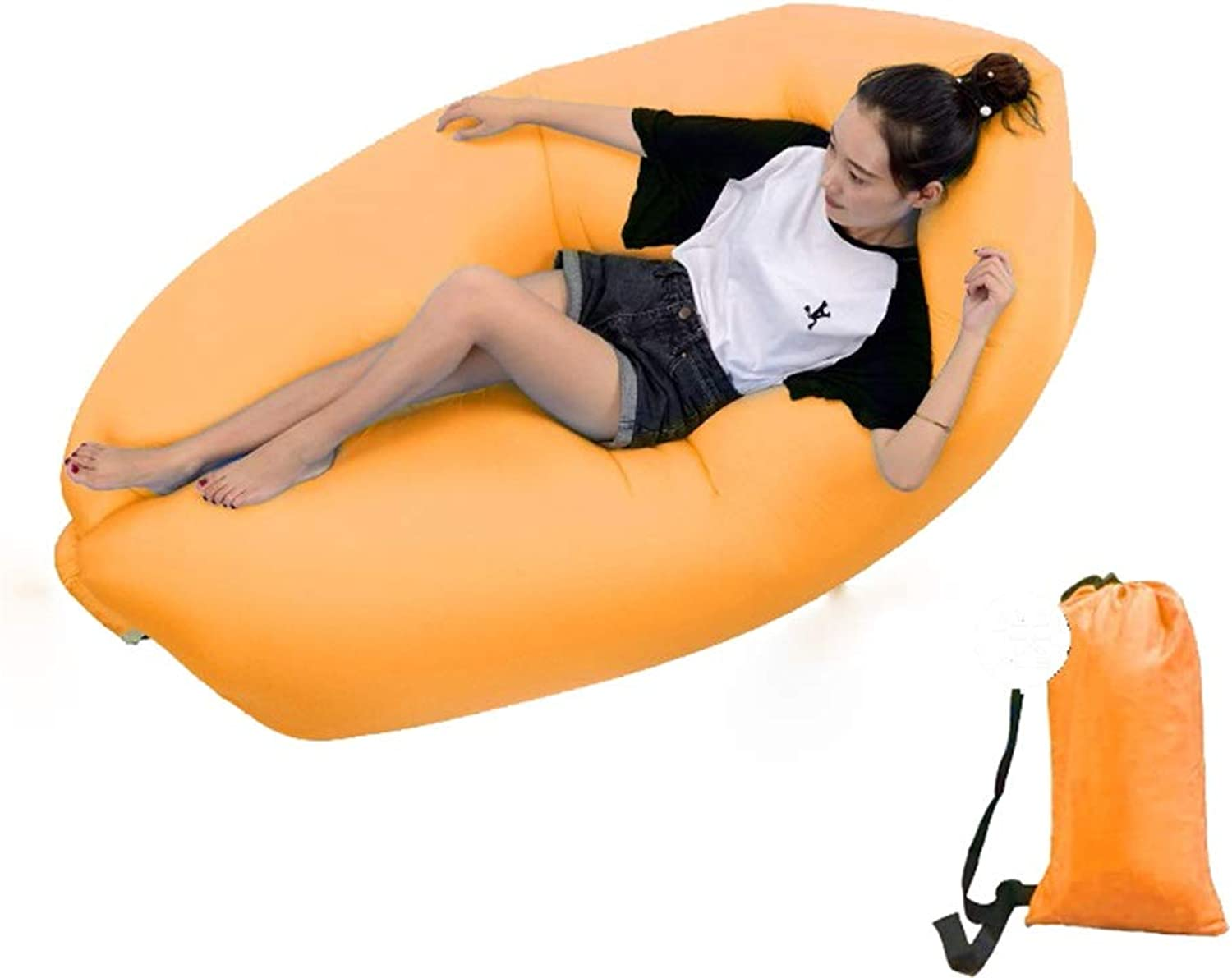 SCM Amphibious Air Sofa Multi-Function Lazy Couch Pool Park Outdoor Travel Portable Inflatable Bed Nap Air Cushion 150×63cm (color   orange)