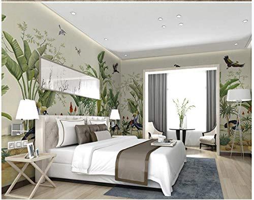 Apoart papel pintado Dibujado a mano plantas tropicales flores y pájaros fondo de la casa entera mural de la pared 350X245cm(137.79 * 96.45in)