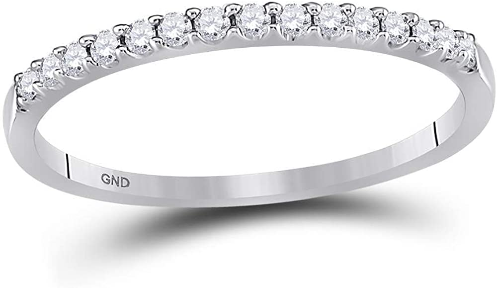 Sonia Jewels 14k White Gold Round Cut Diamond Ladies Womens Channel Set Wedding or Anniversary 2mm Ring Band (.15 cttw)